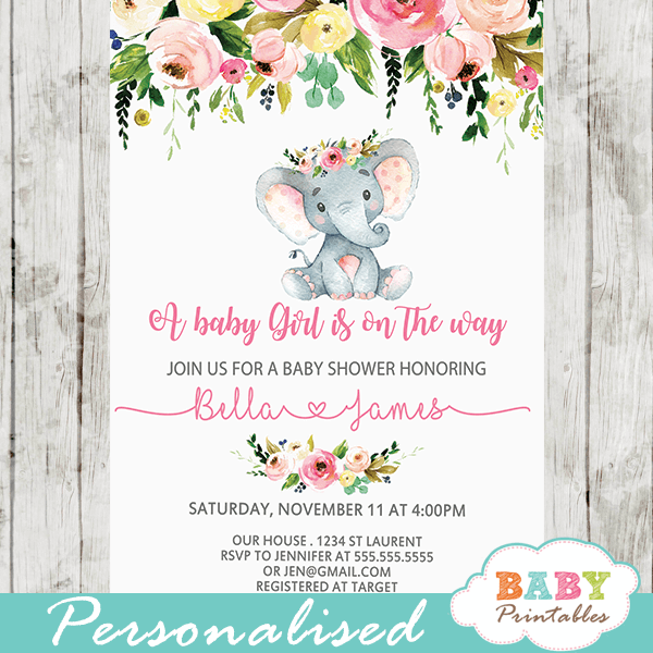 watercolor flowers elephant baby shower invites girl on the way pink and gray