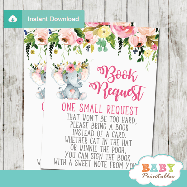 blush floral girl elephant book request cards pink and gray invitation inserts