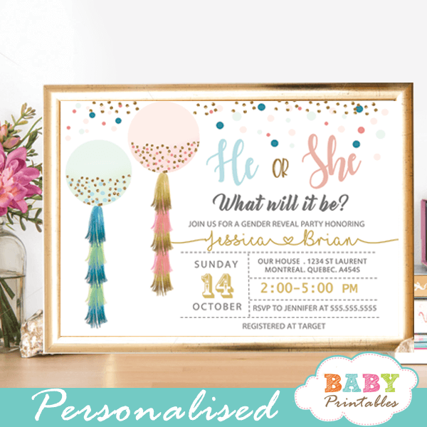 balloon gender reveal invitations pink blue tassel garland gold confetti he or she