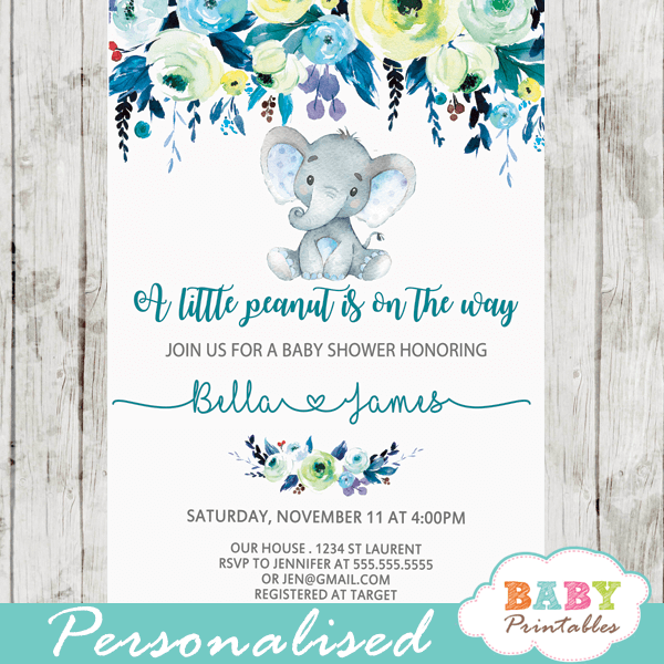 elephant baby shower invitations boy floral teal blue little peanut