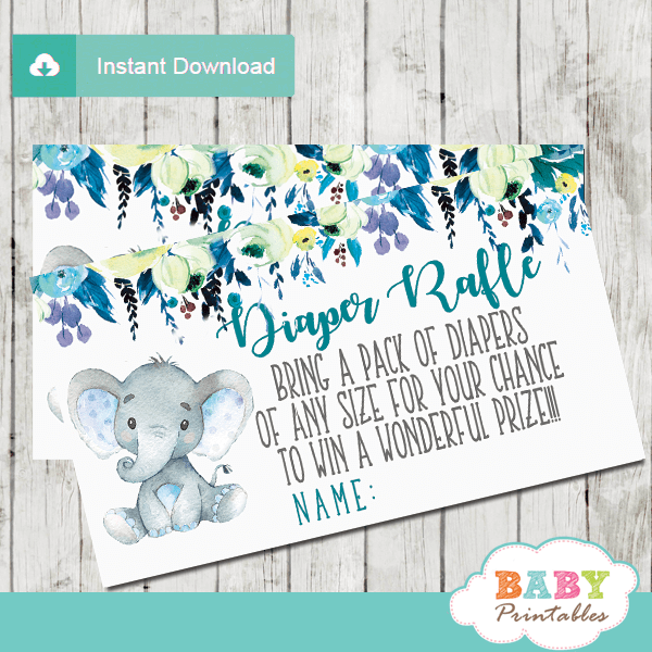 elephant diaper raffle tickets teal blue grey little peanut boy