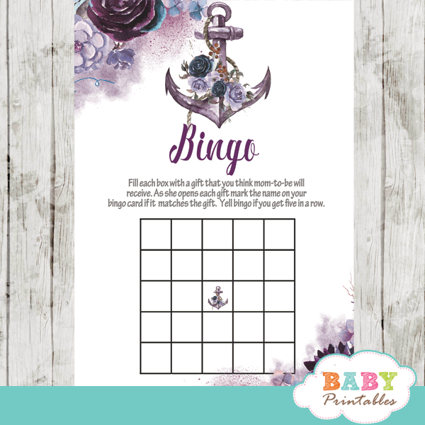 nautical baby shower games chic elegant purple lavender lilac violet flowers anchor girl