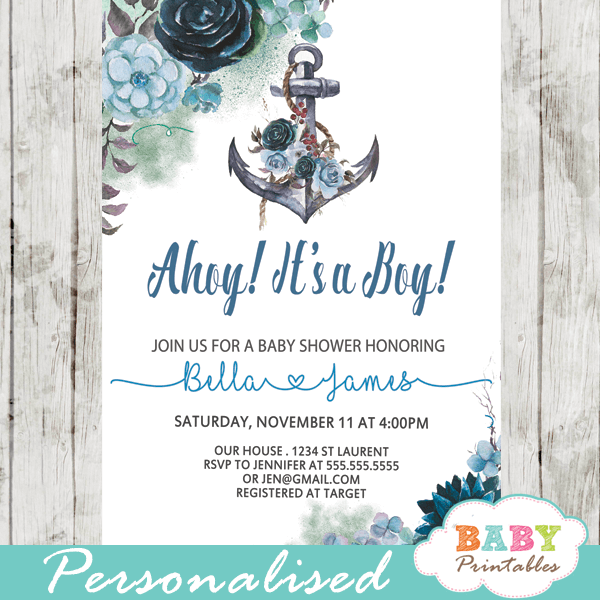 image relating to Nautical Baby Shower Invitations Printable titled Floral Blue Nautical Boy or girl Shower Invites For Boy - D200