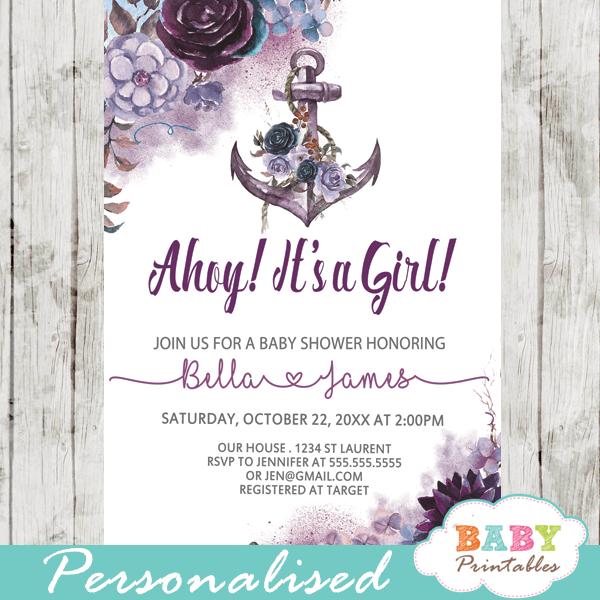 Purple Nautical Baby Shower Invitations