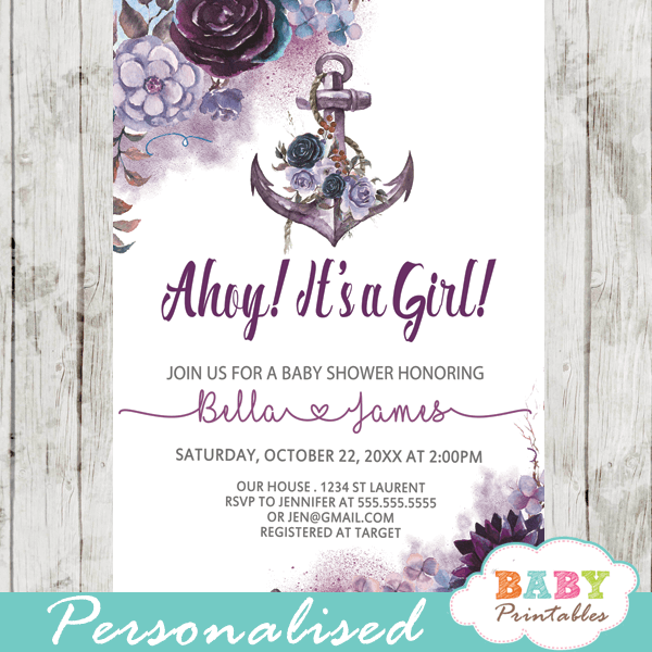 Floral purple nautical baby shower invitations for girl d202 purple lavender violet floral anchor baby shower invitations rustic nautical theme girl filmwisefo