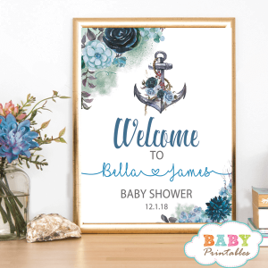 nautical baby shower welcome sign floral blue anchor poster welcome to