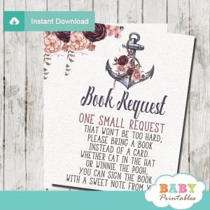 floral burgundy blush rustic anchor invitation inserts nautical book request cards girl
