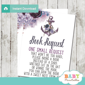 floral boho purple violet lavender rustic anchor invitation inserts nautical book request cards girl