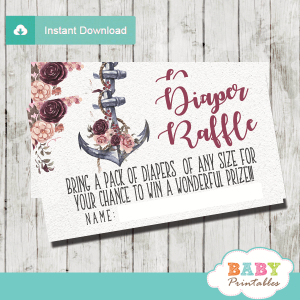 nautical diaper raffle tickets floral burgundy blush rustic anchor girl