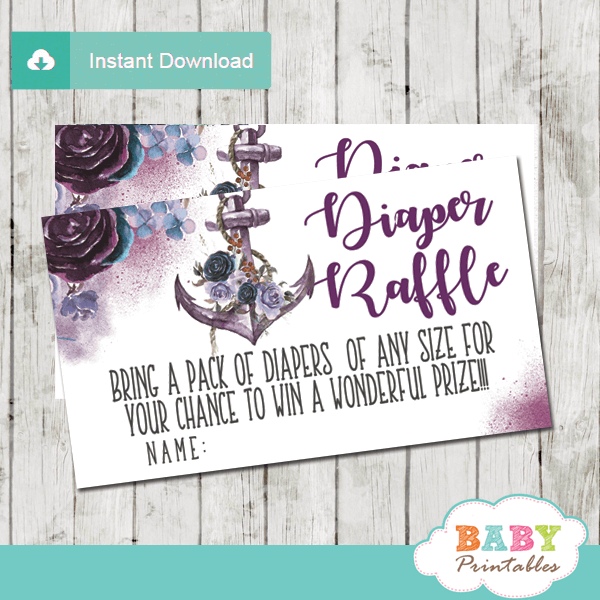 nautical diaper raffle tickets floral purple violet lavender rustic anchor girl