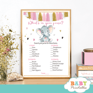 pink and gold elephant baby shower games girl little peanut tassel garland bunting