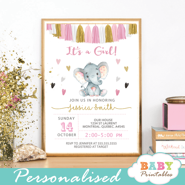 Pink And Gold Elephant Baby Shower Invitations Tassel Garland D435