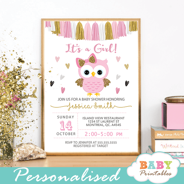 Perfect Pink and Gold Owl Baby Shower Invitations – D128 - Baby Printables LJ83