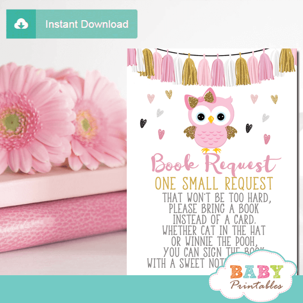 pink and gold owl invitation inserts girl book request cards