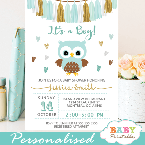 gold tiffany blue owl baby shower invitations boy tassel garland