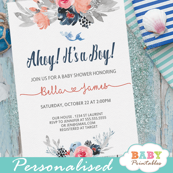 ahoy nautical baby shower invitations boy floral gray coral navy