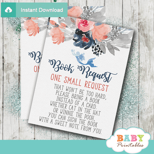 sea mermaid floral invitation inserts nautical book request cards boy navy blue gray coral