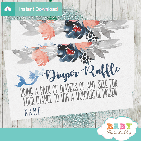 coral navy gray nautical diaper raffle tickets