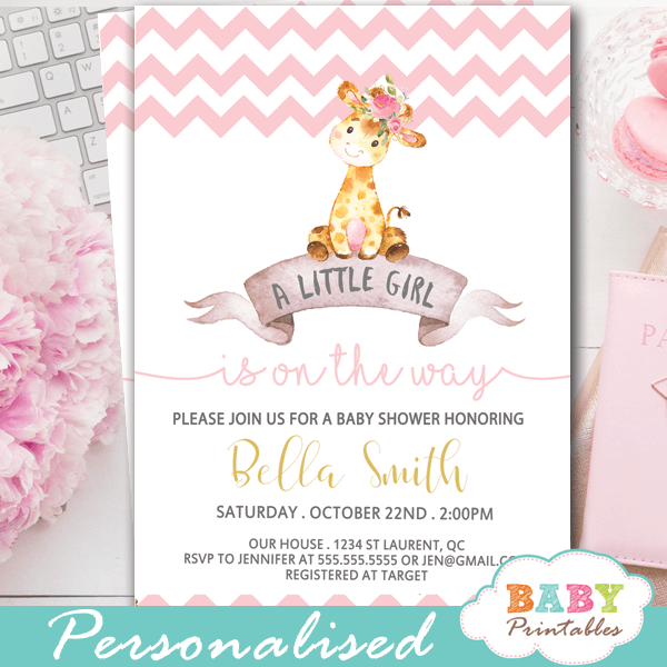 pink chevron baby shower invitations with giraffes