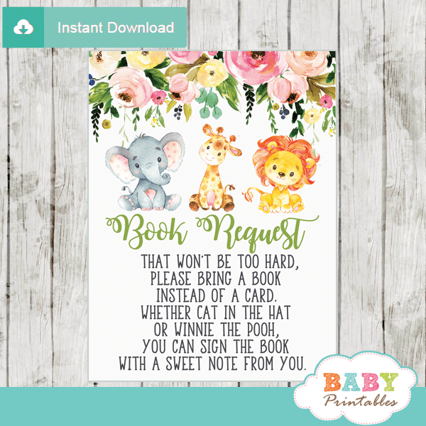 jungle animals book request cards lion giraffe elephant watercolor floral