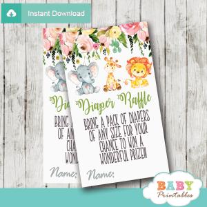 floral jungle animals diaper raffle tickets elephant giraffe lion