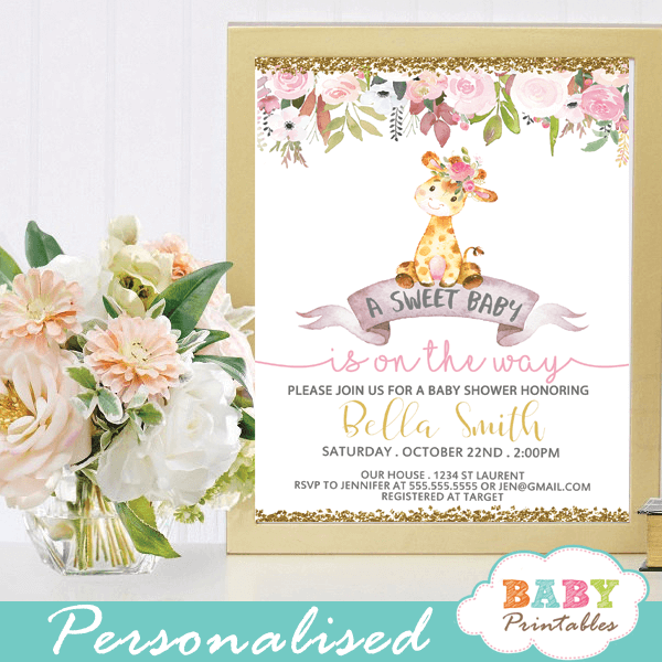 baby shower invitations with giraffes floral pink gold glitter girl