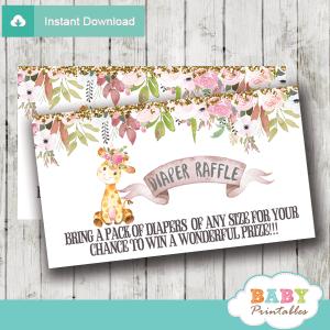 floral pink giraffe diaper raffle tickets girl