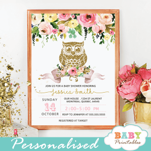 pink blush yellow floral gold owl baby shower invitations girl