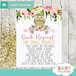spring garden flowers owl book request cards girl invitation inserts