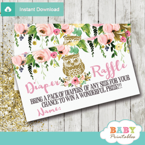 spring garden flowers gold owl diaper raffle tickets girl baby shower
