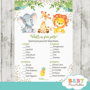 safari jungle animals baby shower games watercolor elephant giraffe lion gold glitter pineapple