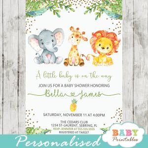 jungle theme baby shower invites lion elephant giraffe gold glitter pineapple