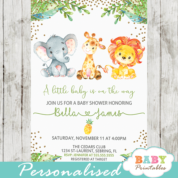 jungle theme baby shower invites lion elephant giraffe gold glitter pineapple