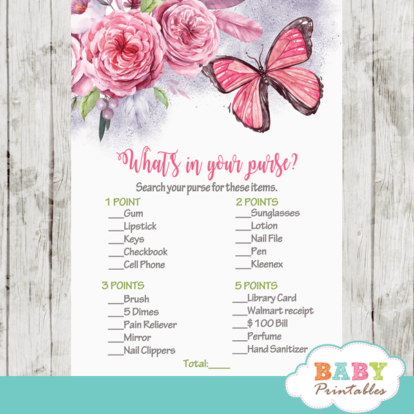 butterfly themed baby shower games pink purple flowers girl hand painted