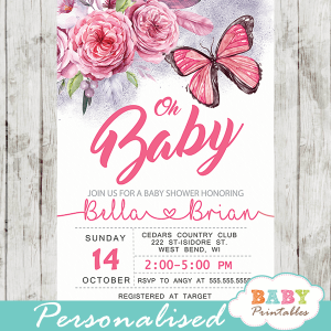 baby shower invites with butterflies pink flowers girl watercolor