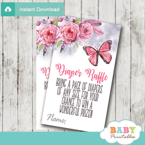 butterfly diaper raffle tickets pink flowers watercolor