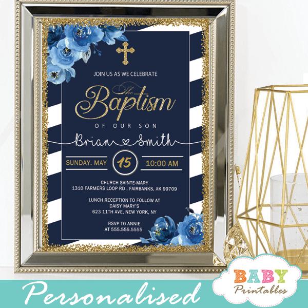 floral blue roses navy white striped baptism invitations boy invitaciones para bautizo