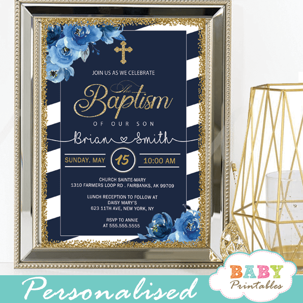 floral blue roses navy white striped baptism invitations boy invitaciones para bautizo
