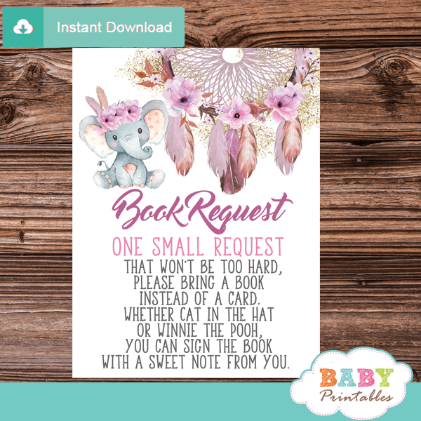 boho chic dream catcher elephant book request cards invitation inserts pink feathers floral girl blush