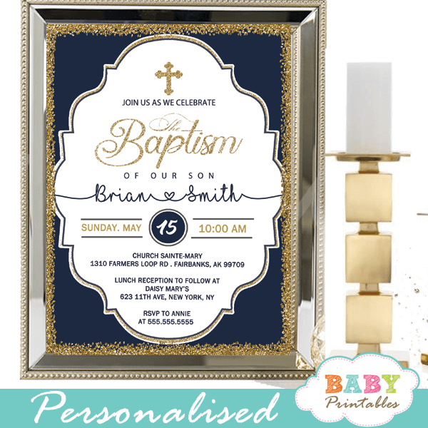 Elegant Navy Blue Gold Baptism Invitations D800 Baby Printables