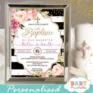 floral pink roses black white striped baptism invitations girl invitaciones para bautizo