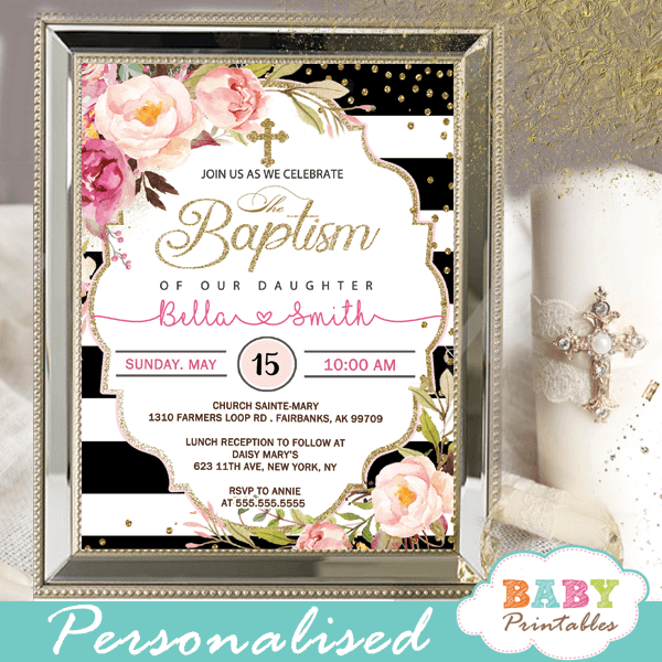 Floral Black White Striped Baptism Invitations D800 Baby Printables