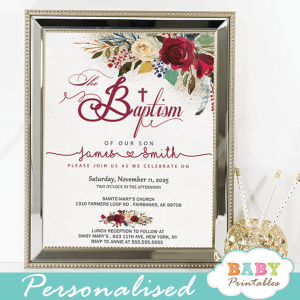 baptism invitations boy floral burgundy red ivory white flowers printable christening invites girl