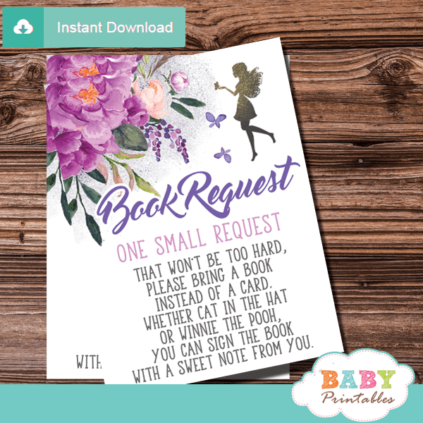 fairy book request cards book for baby floral purple violet butterflies