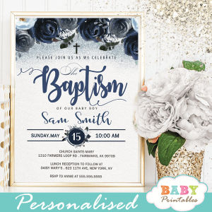 baby boy baptism invitations navy blue watercolor flowers boho feathers