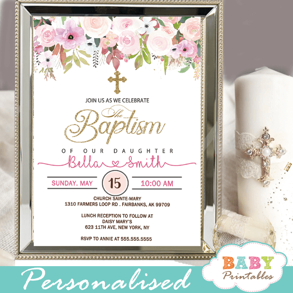 blush pink flowers baptism invitations girl invitaciones para bautizo