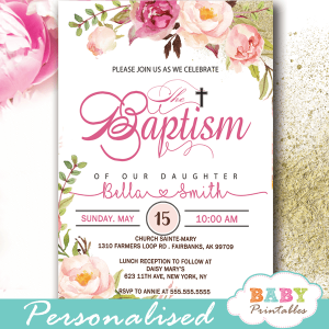 baptism invites girl pink blush flowers watercolor christening invites