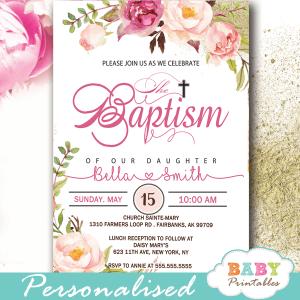 baptism invites girl pink blush flowers watercolor christening invites