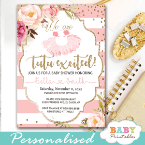 tutu baby shower invitations pink flowers roses ballerina invites faux gold glitter