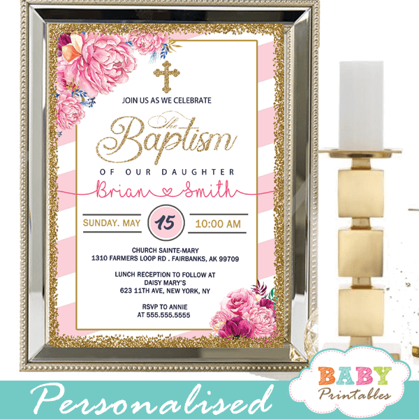 Floral Pink White Striped Baptism Invitations D800 Baby Printables